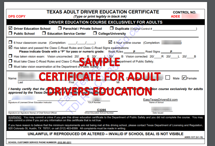 Sample Texas Adult Driver Certificate